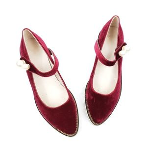 Shoes - Burgundy Velvet Pearl Mary Janes